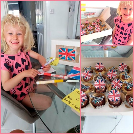 Sophia Waugh baking cupcakes collage